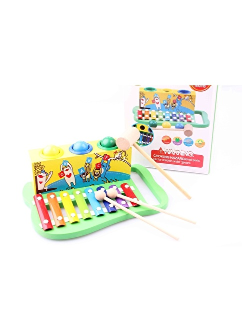 Learning Toys Wooden Knock The Ball Piano Renkli